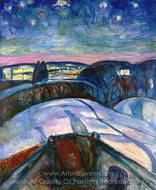 Starry Night painting reproduction, Edvard Munch