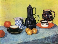 Still Life: Blue Enamel Coffeepot, Earthenware and Fruit painting reproduction, Vincent Van Gogh