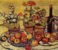 Still Life, Fruit and Flowers painting reproduction, Maurice Prendergast