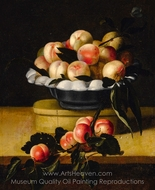 Still Life of a Peaches in a Bowl Standing on a Wooden Box on a Ledge painting reproduction, Louise Moillon
