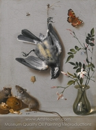 Still Life of a Songbird and Butterflies painting reproduction, Jean-Baptiste Oudry