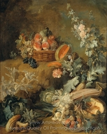Still Life of Fruits and Vegetables painting reproduction, Jean-Baptiste Oudry