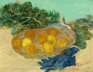Still Life of Oranges and Lemons with Blue Gloves painting reproduction, Vincent Van Gogh