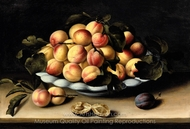 Still Life with a Bowl of Apricots, Peaches and Plums on an Entablature painting reproduction, Louise Moillon