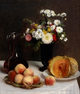 Still Life with a Carafe, Flowers and Fruit painting reproduction, Henri Fantin-Latour