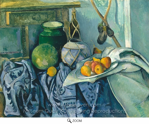 Paul Cézanne, Still Life with a Ginger Jar and Eggplants oil painting reproduction
