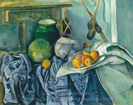 Still Life with a Ginger Jar and Eggplants painting reproduction, Paul Cézanne