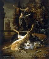 Still Life with a Hare and Birds painting reproduction, Jan Weenix