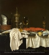 Still Life with a Lobster painting reproduction, Willem Claesz. Heda