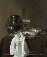 Still Life with a Pewter Flagon and Two Ming Bowls painting reproduction, Jan Jansz. Treck