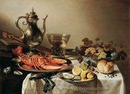 Still Life with a Red Lobster painting reproduction, Pieter Claesz