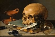 Still Life with a Skull and a Writing Quill painting reproduction, Pieter Claesz