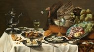 Still Life with a Turkey Pie painting reproduction, Pieter Claesz