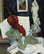 Still Life with a Violin painting reproduction, Angel Zarraga