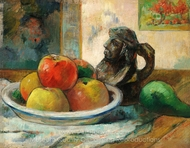 Still Life with Apples, a Pear, and a Ceramic Portrait Jug painting reproduction, Paul Gauguin