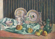 Still Life with Apples and Fruit Bowls painting reproduction, Emile Bernard