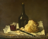 Still Life with Bottle, Glass and Loaf painting reproduction, Jean Simeon Chardin