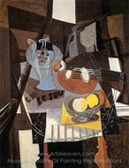 Still Life with Bowl of Fruit, Bottle and Mandolin painting reproduction, Georges Braque