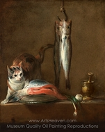 Still Life with Cat and Fish painting reproduction, Jean Simeon Chardin