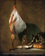 Still-Life With Cat and Rayfish painting reproduction, Jean Simeon Chardin