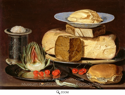 Clara Peeters, Still Life with Cheeses, Artichoke, and Cherries oil painting reproduction