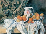 Still Life with Curtain and Flowered Pitcher painting reproduction, Paul C�zanne