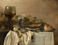 Still Life with Fish painting reproduction, Pieter Claesz