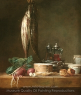 Still Life with Fish, Vegetables, Gougeres, Pots, and Cruets on a Table painting reproduction, Jean Simeon Chardin