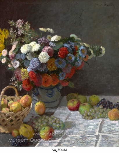 Claude Monet, Still Life with Flowers and Fruit oil painting reproduction