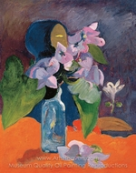 Still Life with Flowers and Idol painting reproduction, Paul Gauguin