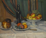 Still Life with Fruit and Brioche painting reproduction, Albert Andre