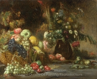 Still Life with Fruit and Flowers painting reproduction, Pierre Andrieu
