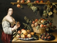Still Life with Fruits and a Young Woman painting reproduction, Louise Moillon