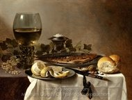 Still Life with Herring, Wine and Bread painting reproduction, Pieter Claesz