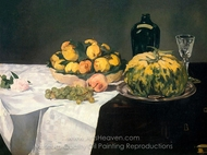 Still Life with Melon and Peaches painting reproduction, �douard Manet