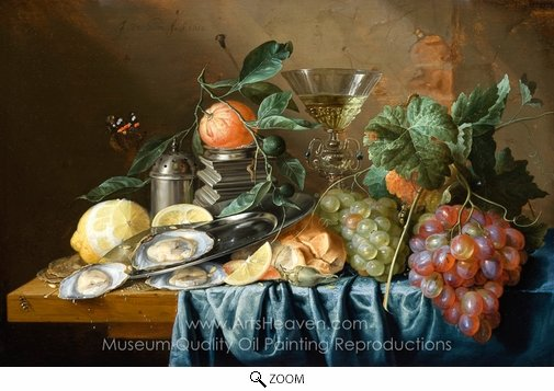 Jan De Heem, Still Life with Oysters and Grapes oil painting reproduction