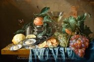 Still Life with Oysters and Grapes painting reproduction, Jan De Heem