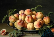 Still Life with Peach and Grapes painting reproduction, Louise Moillon