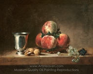Still Life with Peaches, a Silver Goblet, Grapes, and Walnuts painting reproduction, Jean Simeon Chardin
