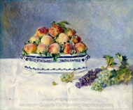 Still Life with Peaches and Grapes painting reproduction, Pierre-Auguste Renoir