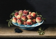 Still Life with Peaches in a Chinese Ming Porcelain on a Entablature painting reproduction, Louise Moillon