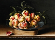 Still Life with Peaches on a Pewter Charger Atop a Chip-wood Box painting reproduction, Louise Moillon