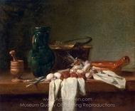 Still Life with Pestle and Mortar, Pitcher and Copper Cauldron painting reproduction, Jean Simeon Chardin