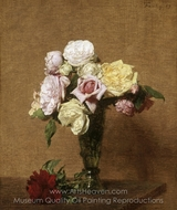 Still Life with Roses in a Fluted Vase painting reproduction, Henri Fantin-Latour