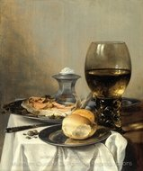 Still Life with Salt Tub painting reproduction, Pieter Claesz