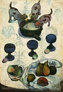Still Life with Three Puppies painting reproduction, Paul Gauguin