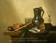 Still Life with Tobacco, Wine and a Pocket Watch painting reproduction, Willem Claesz. Heda