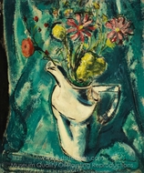 Still Life with White Pitcher and Flowers painting reproduction, Alfred Henry Maurer