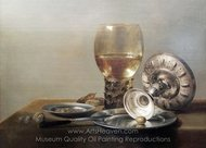 Still Life with Wine Glass and Silver Bowl painting reproduction, Pieter Claesz