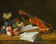 Still Life wth a Violin, a Recorder, Books, a Portfolio of Sheet of Music, Peaches and Grapes painting reproduction, Jean-Baptiste Oudry
